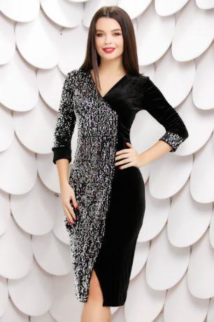Rochie eleganta de seara neagra petrecuta din catifea cu paiete argintii Ilona
