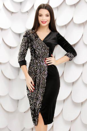 Rochie eleganta de seara neagra petrecuta din catifea cu paiete aurii Ilona
