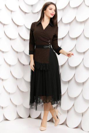 Rochie de seara neagra cu fusta din tull cu dantela Imelda
