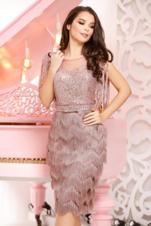 Rochie de seara lila eleganta cu aplicatii de paiete si fusta conica mulata Irena