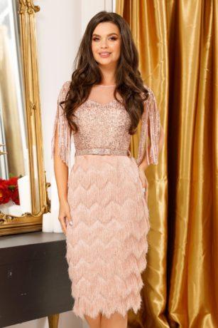 Rochie de seara roz pudra eleganta cu aplicatii de paiete si fusta conica mulata Irena