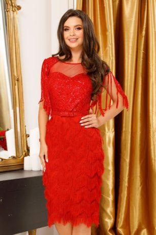 Rochie de seara rosie eleganta cu aplicatii de paiete si fusta conica mulata Irena