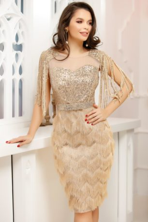 Rochie de seara aurie eleganta cu aplicatii de paiete si fusta conica mulata Irena