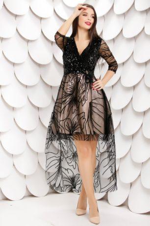 Rochie eleganta cu bust negru din catifea cu paiete si fusta aurie Isabelle