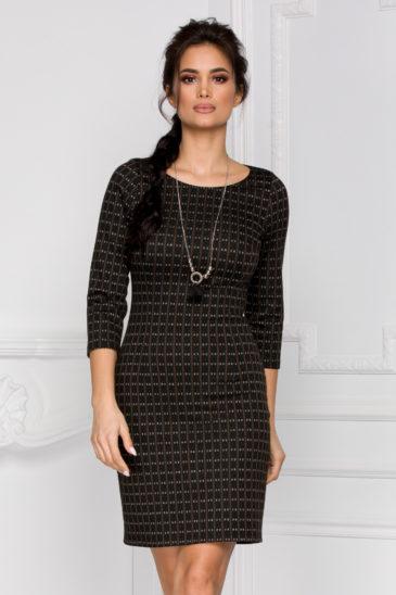 Rochie casual de zi neagra din crepe cu imprimeu multicolor Janice