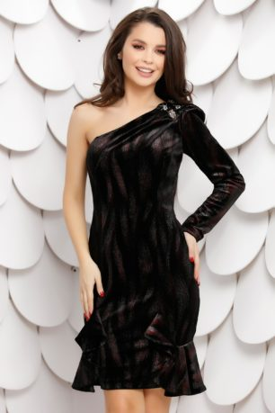 Rochie sexy asimetrica neagra cu bordo accesorizata cu pietre si cristale Kameli