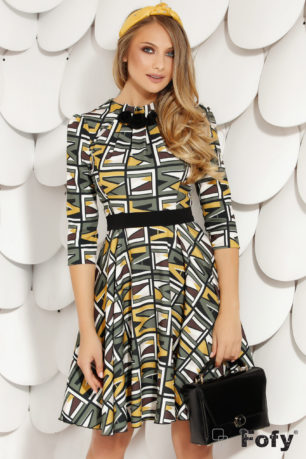 Rochie de zi in clos cu imprimeuri Kendra Multi