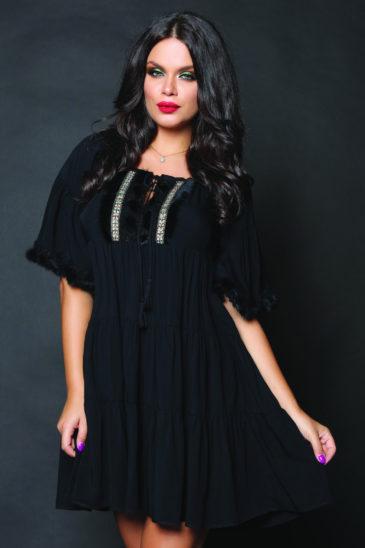 Rochie de ocazie neagra cu croi larg Kosta