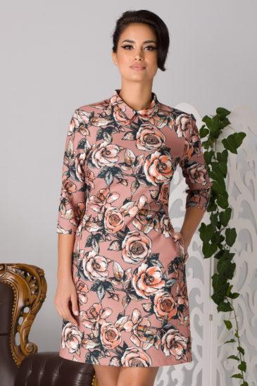 Rochie de primavara de ocazie bej cu imprimeuri florale La Donna Erin