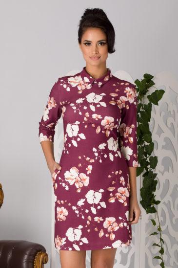 Rochie de primavara de ocazie bordo cu imprimeuri florale La Donna Erin