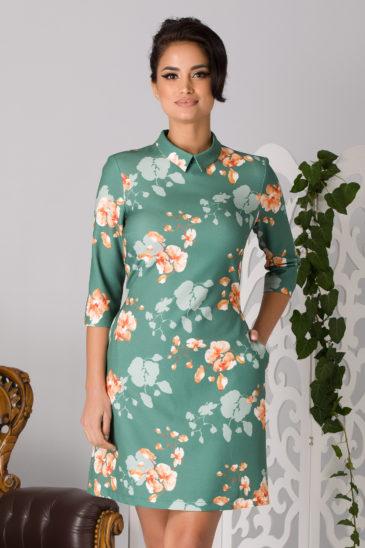Rochie de primavara de ocazie vernil cu imprimeuri florale La Donna Erin
