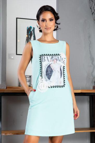 Rochie casual oversize bleu de zi cu imprimeu modern La Donna Evelina
