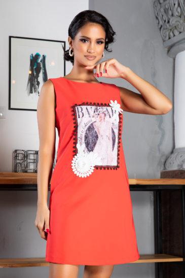 Rochie casual oversize corai de zi cu imprimeu modern La Donna Evelina
