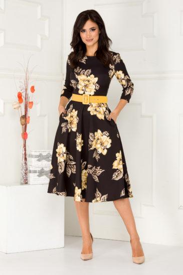 Rochie midi neagra cu imprimeu floral galben si curea atasata in talie Larisa