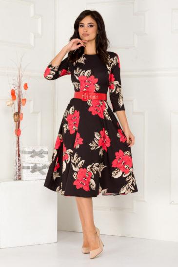 Rochie midi neagra cu imprimeu floral rosu si curea atasata in talie Larisa
