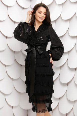 Rochie de ocazie neagra din dantela cu paiete si maneci bufante Latiffa