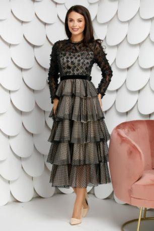 Rochie midi neagra de seara cu fusta ampla cu volanase Levia