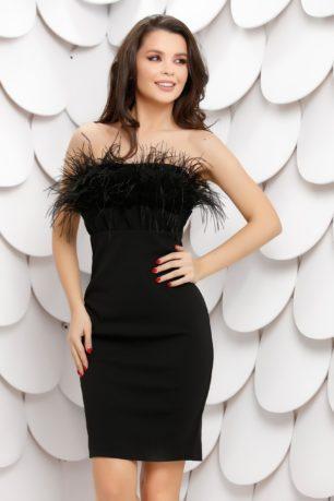 Rochie de seara mulata neagra cu pene la decolteul drept Ligia