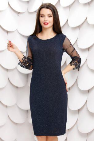Rochie midi eleganta bleumarin de ocazie cu maneci din tull si dantela Lizeta