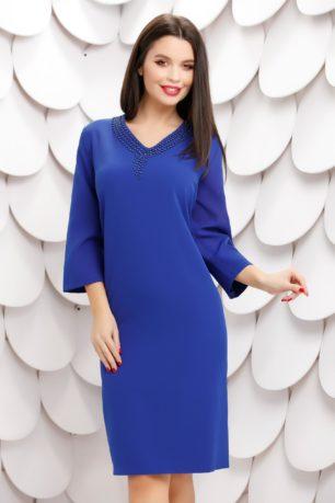 Rochie midi larga albastra cu perle si maneci trei sferturi Lory