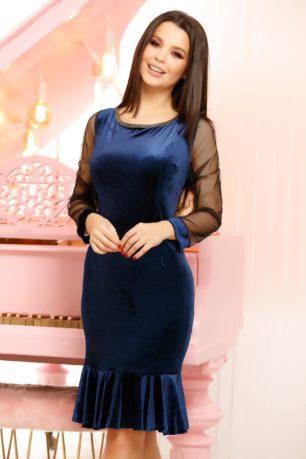 Rochie eleganta midi bleumarin de catifea cu maneci din tulle Ludmila