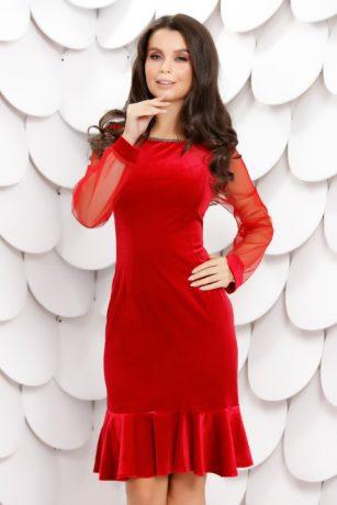 Rochie eleganta midi rosie de catifea cu maneci din tulle Ludmila
