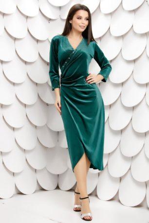 Rochie eleganta verde din catifea cu decolteu petrecut si maneci lungi Lyanne