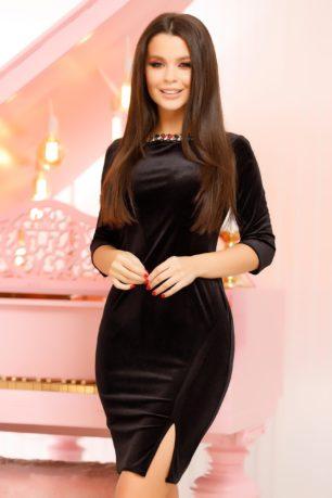 Rochie de seara neagra din catifea eleganta cu maneci trei sferturi Marissa