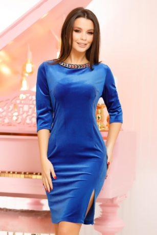 Rochie de seara albastru electric din catifea eleganta cu maneci trei sferturi Marissa