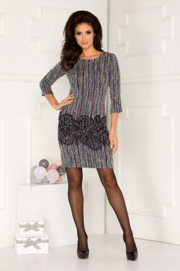 Rochie de zi albastra midi eleganta din material tricotat Martina