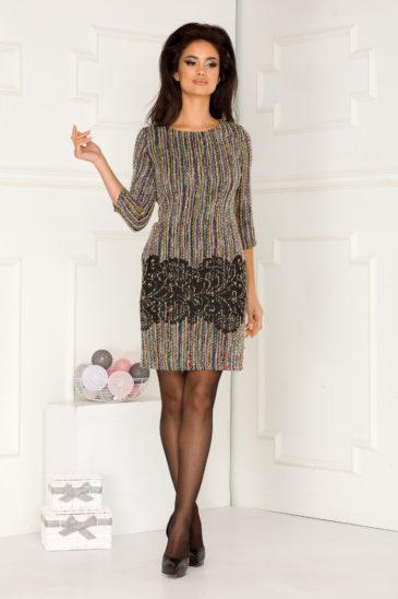 Rochie de zi galbena midi eleganta din material tricotat Martina