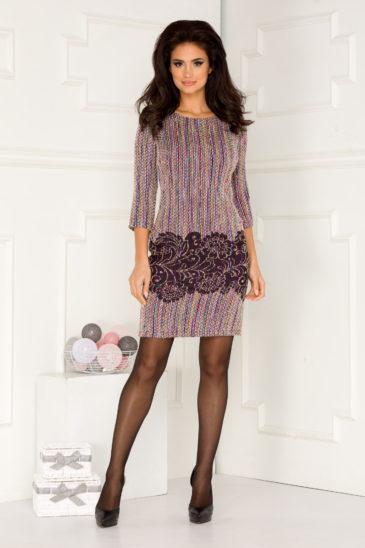 Rochie de zi mov midi eleganta din material tricotat Martina