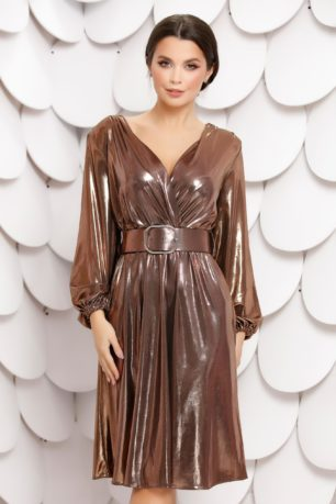 Rochie Mayte eleganta de seara cu curea in talie din material stralucitor