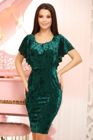 Rochie midi verde smarald de catifea cu decolteu rotund si croi mulat pe corp Melisa
