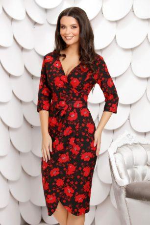 Rochie de primavara neagra cu imprimeu floral rosu Melissa