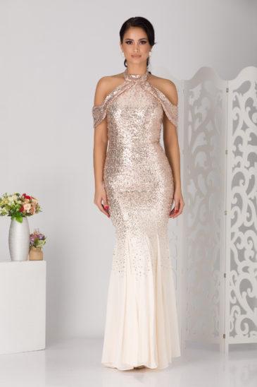 Rochie lunga de seara eleganta tip sirena nude cu paiete stralucitoare Melissa