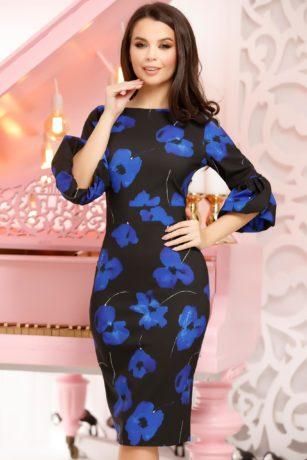 Rochie de primavara neagra cu imprimeuri florale albastre Melvina