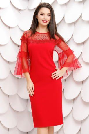 Rochie de nunta rosie din stofa mulata accesorizata cu strass-uri Merry