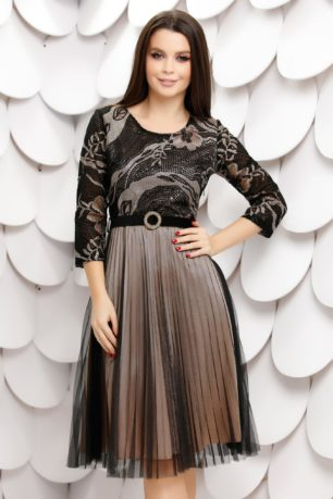 Rochie de seara neagra eleganta cu jupon crem si fusta din tull plisat Molly