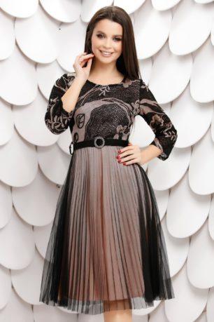 Rochie de seara neagra eleganta cu jupon roz si fusta din tull plisat Molly