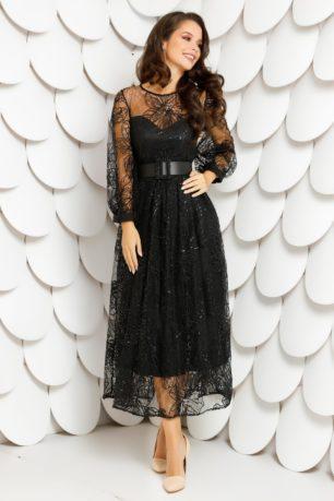 Rochie de seara neagra eleganta din dantela brodata cu paiete Monika