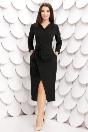 Rochie office midi neagra cu fusta petrecuta si nasturi Morana