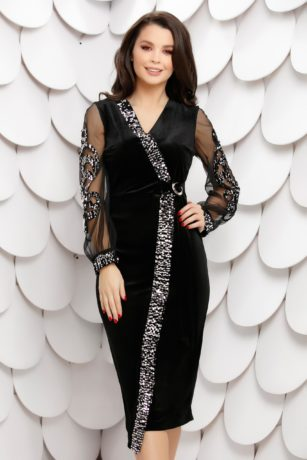 Rochie de seara eleganta midi mulata neagra din catifea cu paiete si tull diafan Morgance