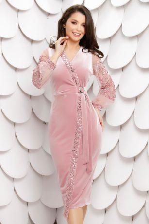 Rochie de seara eleganta midi mulata roz din catifea cu paiete si tull diafan Morgance