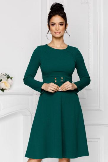 Rochie verde eleganta in clos cu maneci lungi Moze Adela
