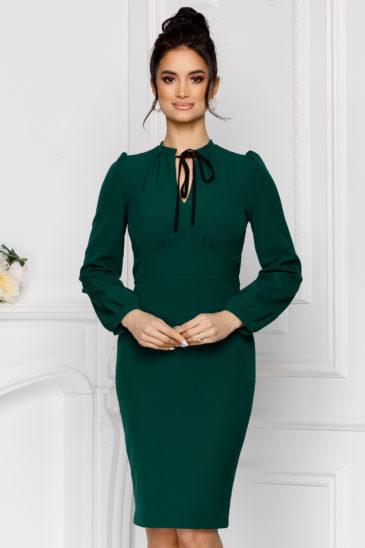 Rochie verde midi eleganta de ocazie cu croi mulat si maneci lungi Moze Bernice