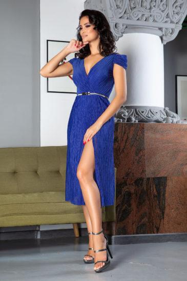 Rochie albastra de seara eleganta cu crapatura pe picior Moze Cleopatra