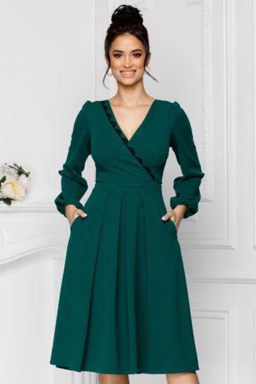 Rochie verde de ocazie cu buzunare si decolteu in V Moze Dora