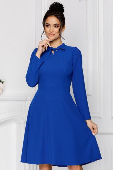 Rochie in clos albastra de nunta eleganta cu maneci lungi Moze Simina