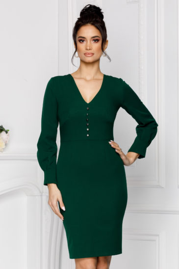 Rochie verde office de ocazie eleganta din material elastic Moze Vera